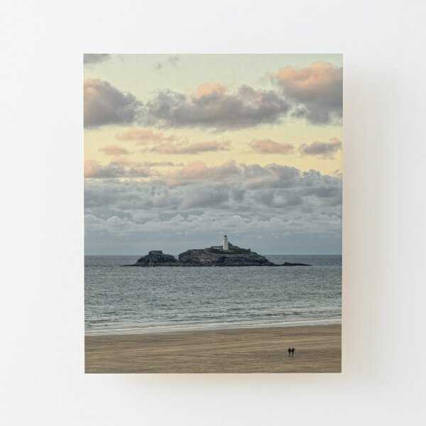 Godrevy Lighthouse, Cornwall Wood Mounted Print