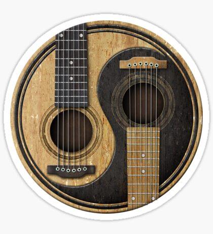 Alte und getragene Akustikgitarren Yin Yang Sticker