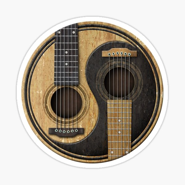 guitares bien utilisées. Ce beau symbole d'équilibre est parfait pour les musiciens et les amateurs de musique. Sticker