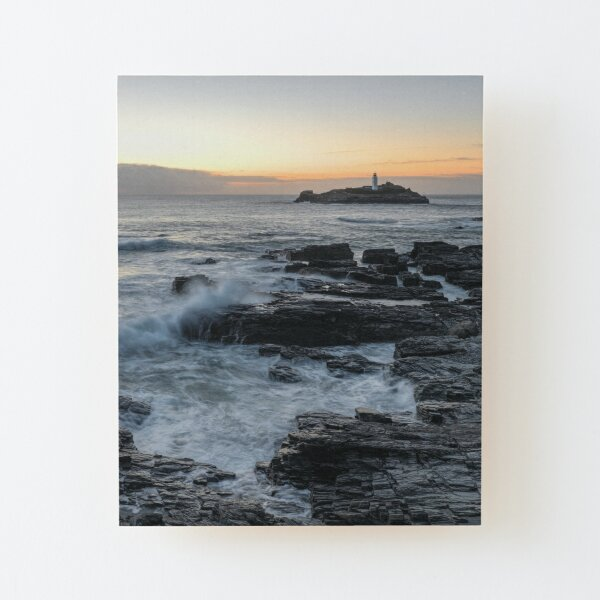 Sunset at Godrevy Lighthouse, Cornwall Wood Mounted Print