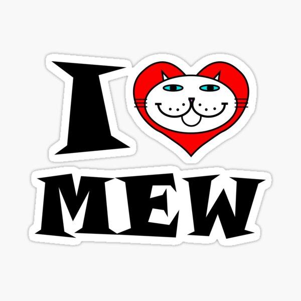 I HEART MEW - WEISSE KATZE MIT BLAUEN AUGEN Sticker