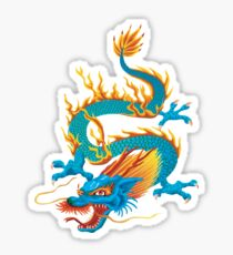 Blue-yellow Oriental Dragon Sticker