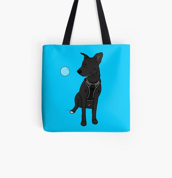 Black dog with soap bubble All Over Print Tote Bag