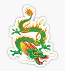 Green Oriental Dragon Sticker