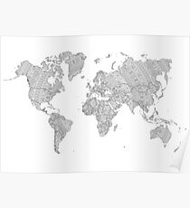 world map mandala tribal patterns illustration Poster