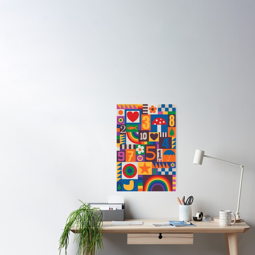 Pop Art Patchwork - Red and Rainbow - Fun Retro Pattern by Cecca Designs Poster