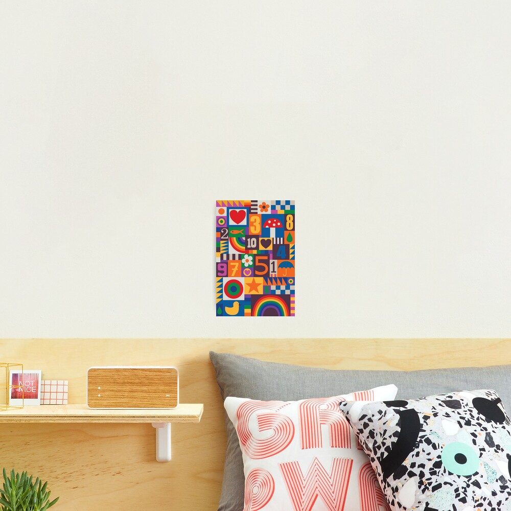 Pop Art Patchwork - Red and Rainbow - Fun Retro Pattern by Cecca Designs Photographic Print