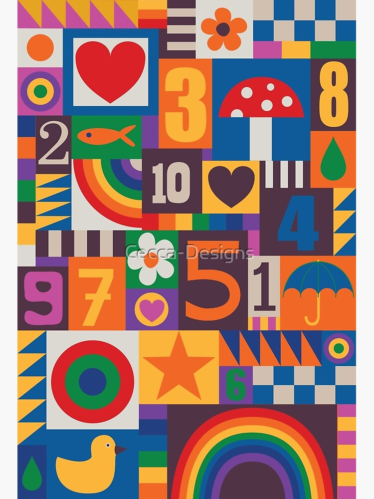 Pop Art Patchwork - Red and Rainbow - Fun Retro Pattern by Cecca Designs by Cecca-Designs
