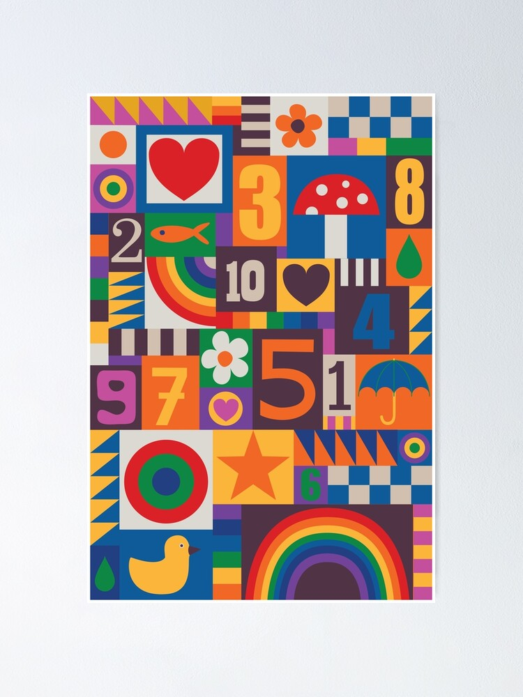 Alternate view of Pop Art Patchwork - Red and Rainbow - Fun Retro Pattern by Cecca Designs Poster