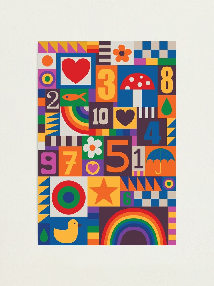 Alternate view of Pop Art Patchwork - Red and Rainbow - Fun Retro Pattern by Cecca Designs Photographic Print