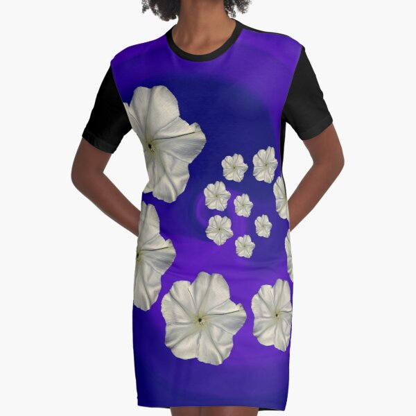Spiral Moon Flower Purple/Blue Swirl Graphic T-Shirt Dress