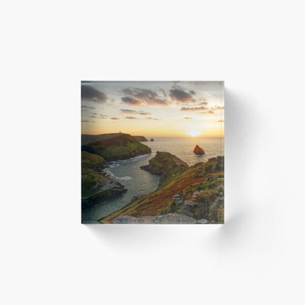 Sunset over Boscastle, Cornwall Acrylic Block