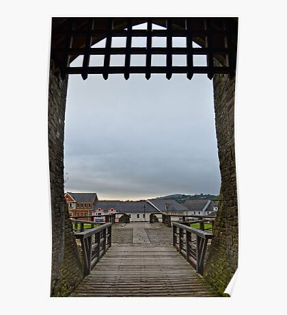 Welch Caerphilly Castle in Wales - Gate Bridge in the morning view to Caerphilly Poster