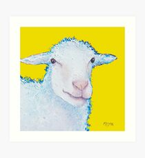 White sheep on yellow Art Print