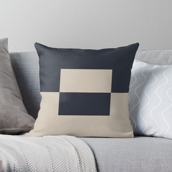 Light Beige and Blue Minimal Square Design 2 2021 Color of the Year Uptown Ecru and Classic Navy Throw Pillow