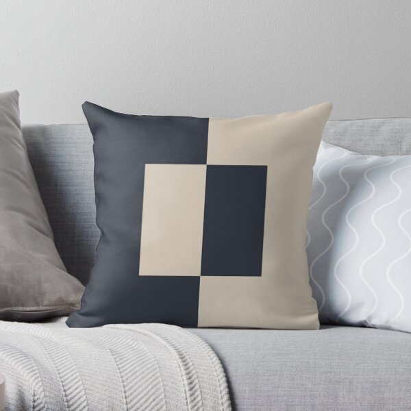 Light Beige and Blue Minimal Square Design 2021 Color of the Year Uptown Ecru and Classic Navy Throw Pillow