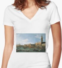 Canaletto Bernardo Bellotto - Return of  Il Bucintoro  on Ascension Day 1745-1750 Women's Fitted V-Neck T-Shirt
