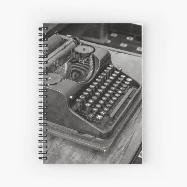 Mechanical typewriter The Society in black and white Spiral Notebook