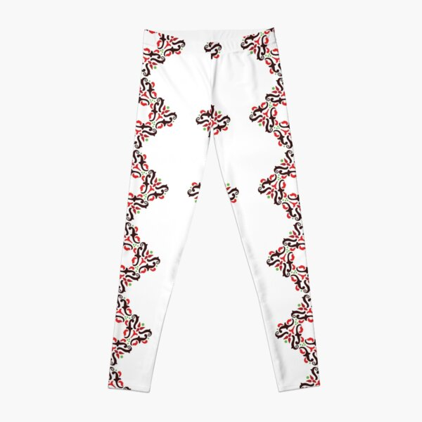 Ornamental pattern with red color Leggings