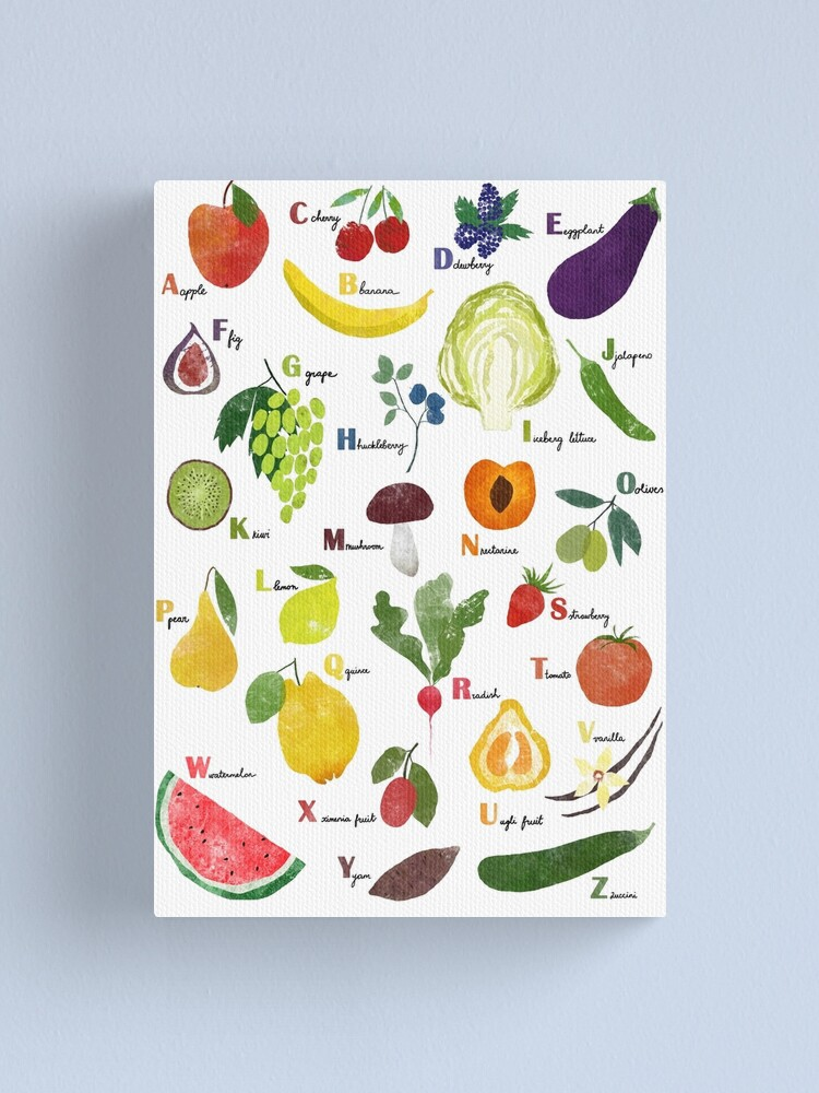Alternate view of English alphabet with fruit and vegetables Canvas Print
