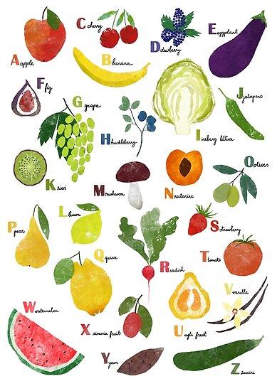 English alphabet with fruit and vegetables by LavishSeason