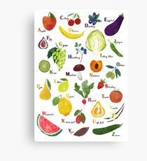 English alphabet with fruit and vegetables Canvas Print