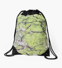 environmental concept, Water shortage and drought Dry cracked mud Drawstring Bag