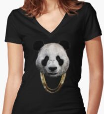 Panda_Large Women's Fitted V-Neck T-Shirt