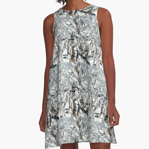 Wrinkled Aluminum Foil A-Line Dress
