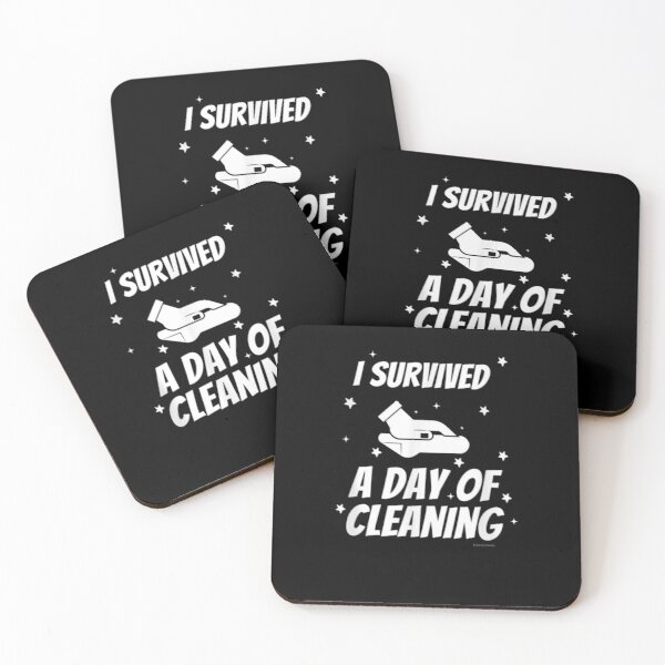 I Survived A Day Of Cleaning Crew Housekeeping Busy Mom Fun Coasters (Set of 4)