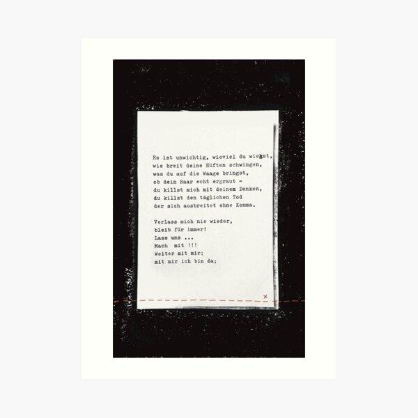 Das ist unwichtig ... Gedicht 12 - Lockdown, ein C-Movie Kunstdruck