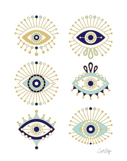 Evil Eye Collection on White by Cat Coquillette