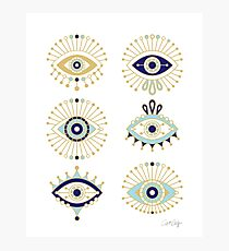 Evil Eye Collection on White Photographic Print