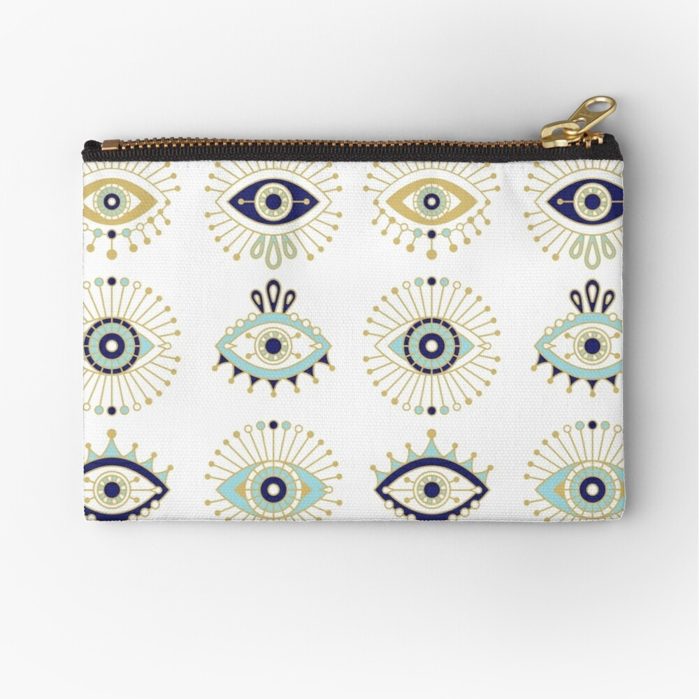 Evil Eye Collection on White Zipper Pouch