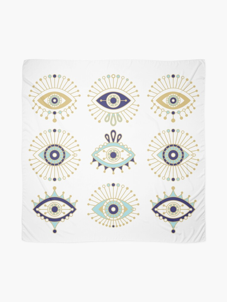Alternate view of Evil Eye Collection on White Scarf