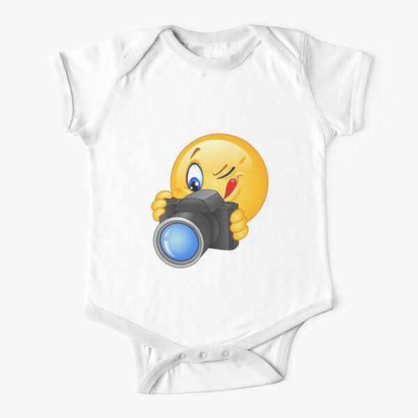 Om camera OM click with smiley Short Sleeve Baby One-Piece