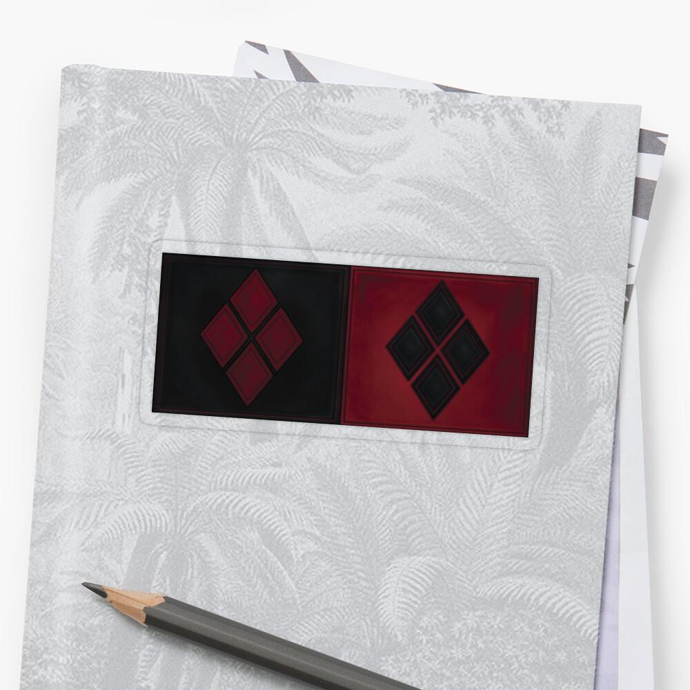 Patchwork Red & Black Leder Effekt Motley mit Diamant Patches 4 Sticker