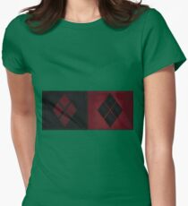 Patchwork Red & Black Leather Effect Motley with Diamond Patches 4 Womens Fitted T-Shirt