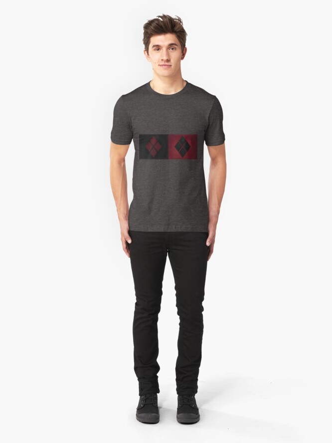 Alternative Ansicht von Patchwork Red & Black Leder Effekt Motley mit Diamant Patches 4 Slim Fit T-Shirt