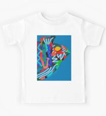 Colorful Abstract Fish in Yellow and Black  Kids Tee
