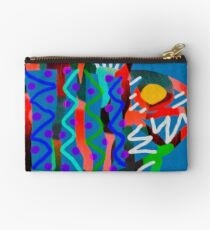 Colorful Abstract Fish Art Drawstring Bag in Yellow and Black  Studio Pouch