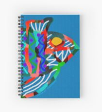 Colorful Abstract Fish Art Drawstring Bag in Yellow and Black  Spiral Notebook