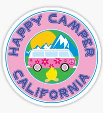 CAMPING HAPPY CAMPER CALIFORNIA MOUNTAINS VOLKSWAGEN BUS CAMPFIRE PEACE HIPPIE Sticker