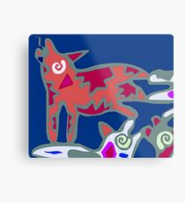 Colorful Abstract Art Throw Pillow in Blue, Pink and Orange Metal Print