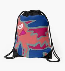 Colorful Abstract Art Throw Pillow in Blue, Pink and Orange Drawstring Bag