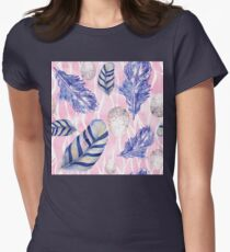 Feathers and Spotted Eggs woodland nature pattern Womens Fitted T-Shirt