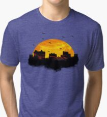 Sunset over city skyline - Birds Tri-blend T-Shirt