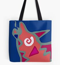 Colorful Abstract Art Throw Pillow in Blue, Pink and Orange Tote Bag