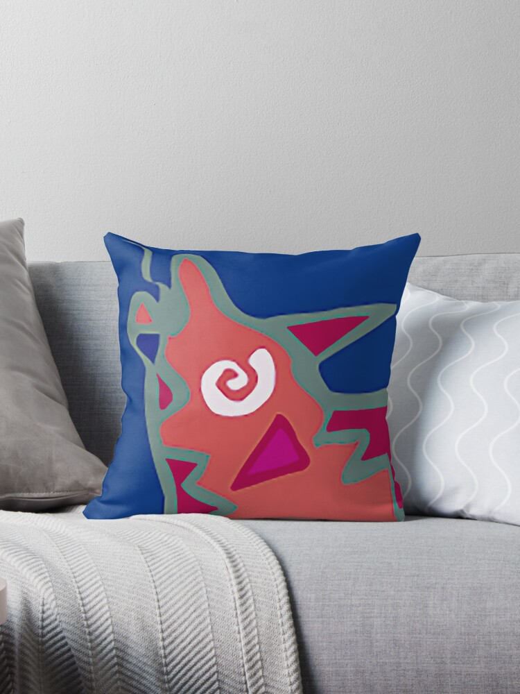 Colorful Abstract Art Throw Pillow in Blue, Pink and Orange by ntartworks