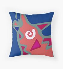 Colorful Abstract Art Throw Pillow in Blue, Pink and Orange Throw Pillow